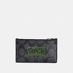 COACH F37380 Zip Card Case In Signature Canvas With Graffiti CHARCOAL/BLACK/BLACK ANTIQUE NICKEL