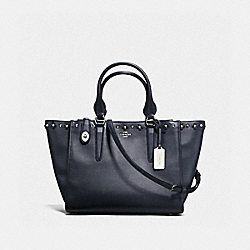 COACH F37400 Crosby Carryall In Floral Rivets Leather SILVER/NAVY/BLACK