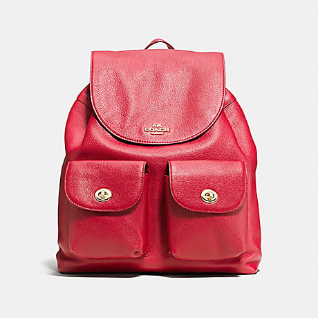 4226cb52c5f4 COACH f37410 BILLIE BACKPACK IN PEBBLE LEATHER IMITATION GOLD CLASSIC RED