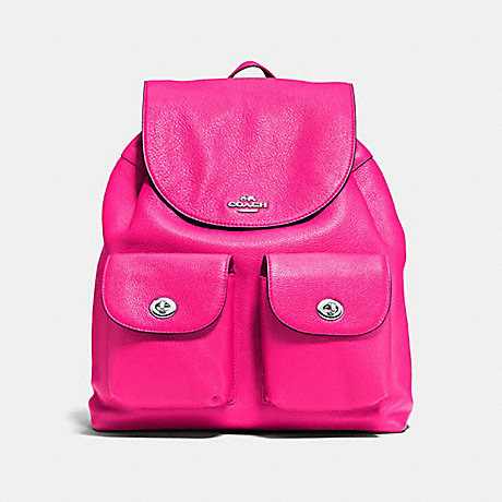 COACH F37410 BILLIE BACKPACK IN PEBBLE LEATHER SILVER/BRIGHT-FUCHSIA