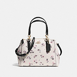 MINI CHRISTIE CARRYALL WITH SMALL WILDFLOWER PRINT - f37421 - LIGHT GOLD/CHALK MULTI