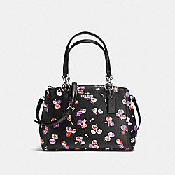 COACH F37421 - MINI CHRISTIE CARRYALL IN SMALL WILDFLOWER PRINT COATED CANVAS SILVER/BLACK MULTI