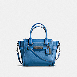 COACH F37444 Coach Swagger 21 In Pebble Leather DARK GUNMETAL/LAPIS