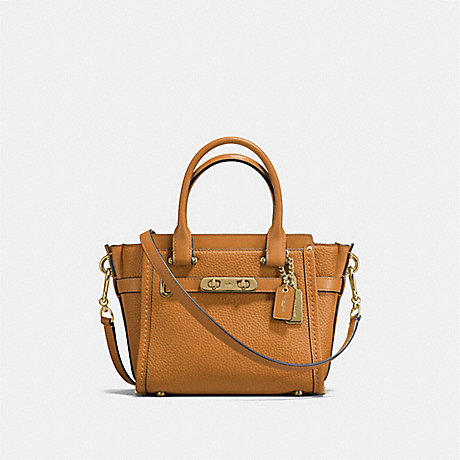COACH f37444 COACH SWAGGER 21 IN PEBBLE LEATHER LIGHT GOLD/LIGHT SADDLE