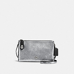 CROSBY CROSSBODY IN BICOLOR LEATHER - f37453 - SILVER/SILVER/BLACK