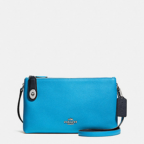 COACH f37453 CROSBY CROSSBODY IN BICOLOR LEATHER SILVER/AZURE/NAVY