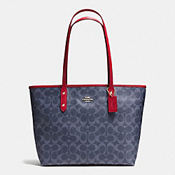 COACH F37475 City Zip Tote In Signature Denim IMITATION GOLD/DENIM