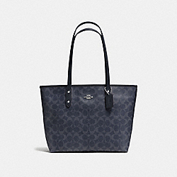 CITY ZIP TOTE IN SIGNATURE CANVAS - F37475 - DENIM/SILVER