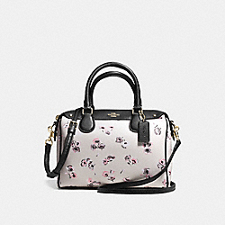 BENNETT MINI SATCHEL IN SMALL WILDFLOWER PRINT COATED CANVAS - f37491 - IMITATION GOLD/CHALK MULTI