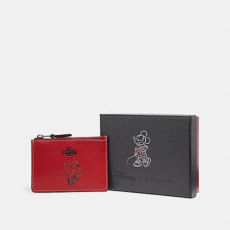 COACH F37536 BOXED MINNIE MOUSE MINI SKINNY ID CASE DARK GUNMETAL/1941 RED