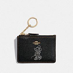 BOXED MINNIE MOUSE MINI SKINNY ID CASE - F37536 - LIGHT GOLD/BLACK