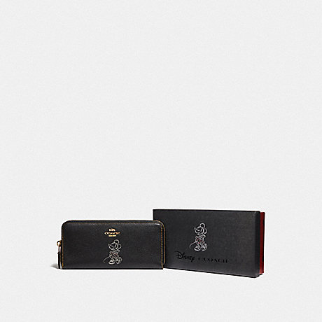 COACH F37537 BOXED MINNIE MOUSE SLIM ACCORDION ZIP WALLET WITH MOTIF LIGHT GOLD/BLACK