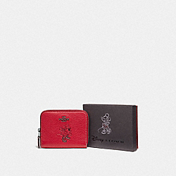 COACH F37538 Boxed Minnie Mouse Small Zip Around Wallet With Motif DARK GUNMETAL/1941 RED