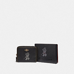 COACH F37538 - BOXED MINNIE MOUSE SMALL ZIP AROUND WALLET WITH MOTIF LIGHT GOLD/BLACK