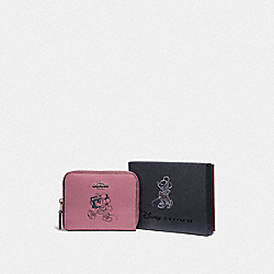 BOXED MINNIE MOUSE SMALL ZIP AROUND WALLET WITH MOTIF - F37538 - SILVER/ROSE