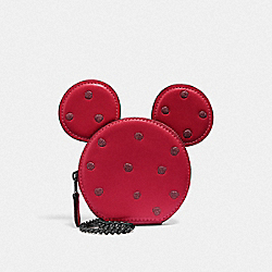 COACH F37539 - BOXED MINNIE MOUSE COIN CASE DARK GUNMETAL/1941 RED