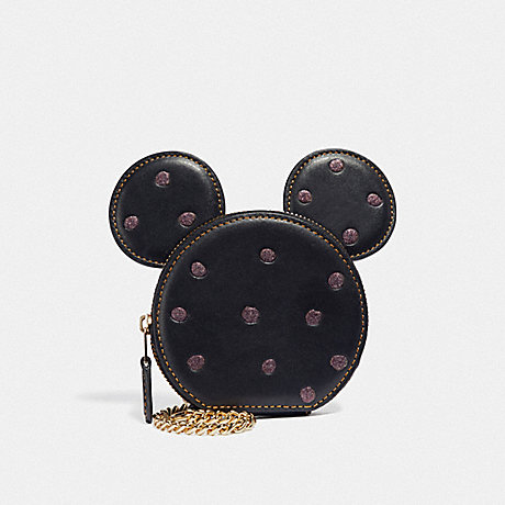 COACH F37539 BOXED MINNIE MOUSE COIN CASE LIGHT GOLD/BLACK