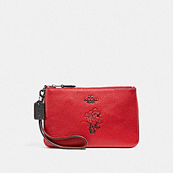 COACH F37540 Boxed Minnie Mouse Small Wristlet With Motif DARK GUNMETAL/1941 RED