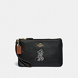COACH F37540 Boxed Minnie Mouse Small Wristlet With Motif LIGHT GOLD/BLACK