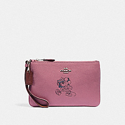 COACH F37540 Boxed Minnie Mouse Small Wristlet With Motif SILVER/ROSE