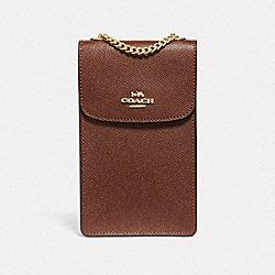 COACH F37543 - NORTH/SOUTH PHONE CROSSBODY SADDLE 2/IMITATION GOLD