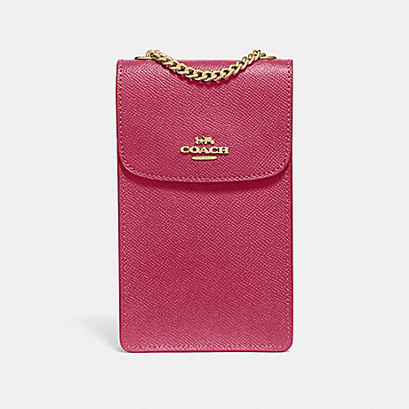 COACH NORTH/SOUTH PHONE CROSSBODY - ROUGE/GOLD - F37543