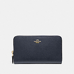 COACH F37544 Continental Zip Around Wallet MIDNIGHT/IMITATION GOLD