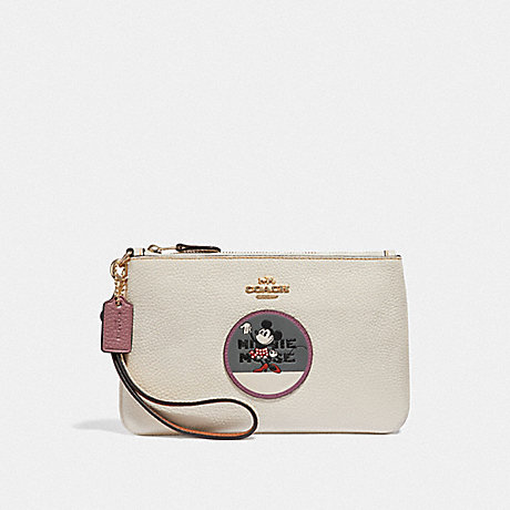 COACH F37545 BOXED MINNIE MOUSE SMALL WRISTLET WITH PATCHES LIGHT GOLD/CHALK
