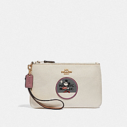 COACH F37545 - BOXED MINNIE MOUSE SMALL WRISTLET WITH PATCHES LIGHT GOLD/CHALK