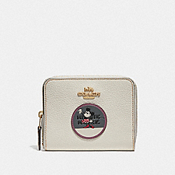 COACH F37546 Boxed Minnie Mouse Small Zip Around Wallet With Patches LIGHT GOLD/CHALK