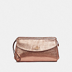 COACH F37550 Flap Clutch ROSE GOLD/LIGHT GOLD