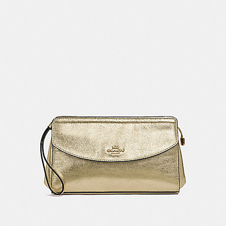 COACH F37550 FLAP CLUCTH WHITE GOLD/LIGHT GOLD