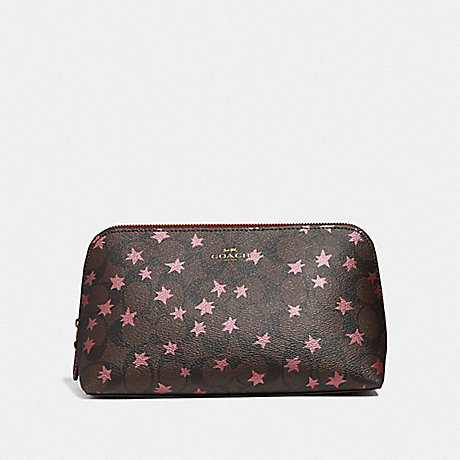 COACH F37552 COSMETIC CASE 22 IN SIGNATURE CANVAS WITH POP STAR PRINT BROWN MULTI/LIGHT GOLD