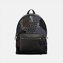 COACH F37557 - WEST BACKPACK WITH PATCHWORK BLACK MULTI/BLACK COPPER FINISH
