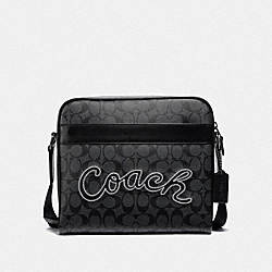 COACH F37558 - CHARLES CAMERA BAG IN SIGNATURE CANVAS WITH COACH SCRIPT CHARCOAL/BLACK/BLACK ANTIQUE NICKEL