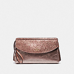 COACH F37563 Flap Clutch ROSE GOLD/LIGHT GOLD
