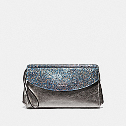 COACH F37563 Flap Clutch GUNMETAL/SILVER