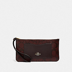 COACH F37565 Zip Top Wallet In Signature Canvas OXBLOOD 1/LIGHT GOLD