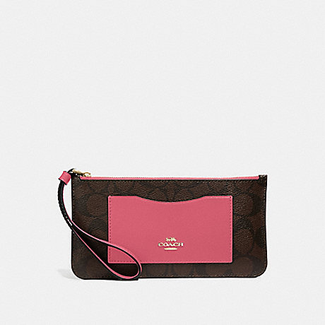 COACH F37565 ZIP TOP WALLET IN SIGNATURE CANVAS BROWN/STRAWBERRY/IMITATION GOLD