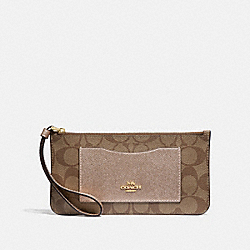 ZIP TOP WALLET IN SIGNATURE CANVAS - F37565 - KHAKI/ROSE GOLD/LIGHT GOLD