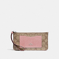 COACH F37565 - ZIP TOP WALLET IN SIGNATURE CANVAS KHAKI/PETAL/SILVER