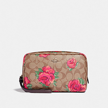 COACH F37566 BOXY COSMETIC CASE 20 IN SIGNATURE CANVAS WITH JUMBO FLORAL PRINT KHAKI/OXBLOOD MULTI/LIGHT GOLD
