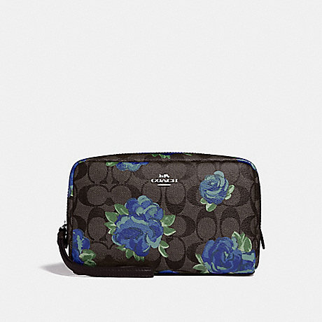 COACH F37566 BOXY COSMETIC CASE 20 IN SIGNATURE CANVAS WITH JUMBO FLORAL PRINT BROWN BLACK/MULTI/SILVER
