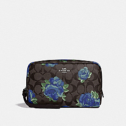 BOXY COSMETIC CASE 20 IN SIGNATURE CANVAS WITH JUMBO FLORAL PRINT - F37566 - BROWN BLACK/MULTI/SILVER