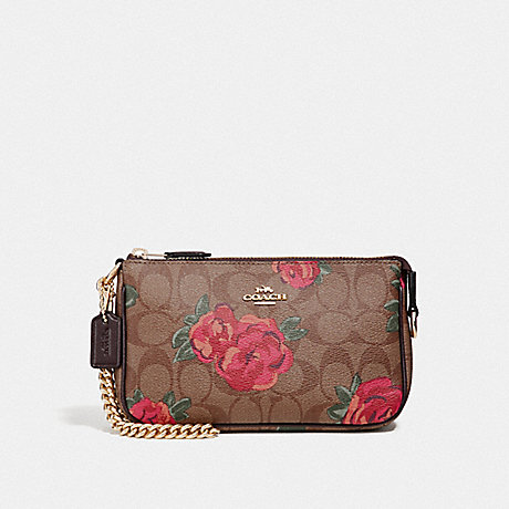 COACH F37567 LARGE WRISTLET 19 IN SIGNATURE CANVAS WITH JUMBO FLORAL PRINT<br>蔻驰大腕19在签名画布上巨型花纹 卡其/红棕色多/浅黄金
