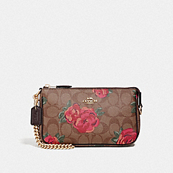 LARGE WRISTLET 19 IN SIGNATURE CANVAS WITH JUMBO FLORAL PRINT - F37567 - KHAKI/OXBLOOD MULTI/LIGHT GOLD