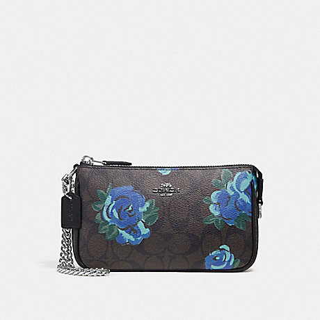 COACH F37567 LARGE WRISTLET 19 IN SIGNATURE CANVAS WITH JUMBO FLORAL PRINT BROWN BLACK/MULTI/SILVER