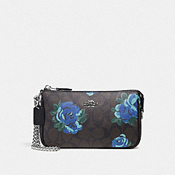 LARGE WRISTLET 19 IN SIGNATURE CANVAS WITH JUMBO FLORAL PRINT - F37567 - BROWN BLACK/MULTI/SILVER