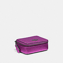 COACH F37569 - TRIPLE PILL BOX METALLIC CERISE/BLACK ANTIQUE NICKEL