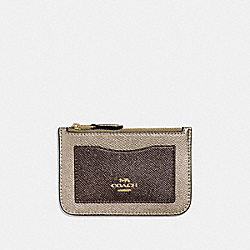 COACH F37571 Zip Top Card Case PLATINUM/LIGHT GOLD